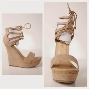 Beige tie up Open toe Wedge heels